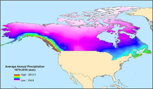Average annual precipitation for 1979-2010 for the modeling domain, provided in the data file 'Precipitation_Climate_Normal_1979-2010.tif'.