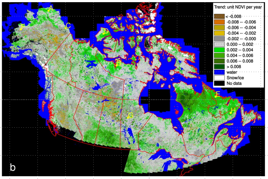 ABoVE: NDVI Trends across Alaska and Canada from Landsat, 1984-2012
