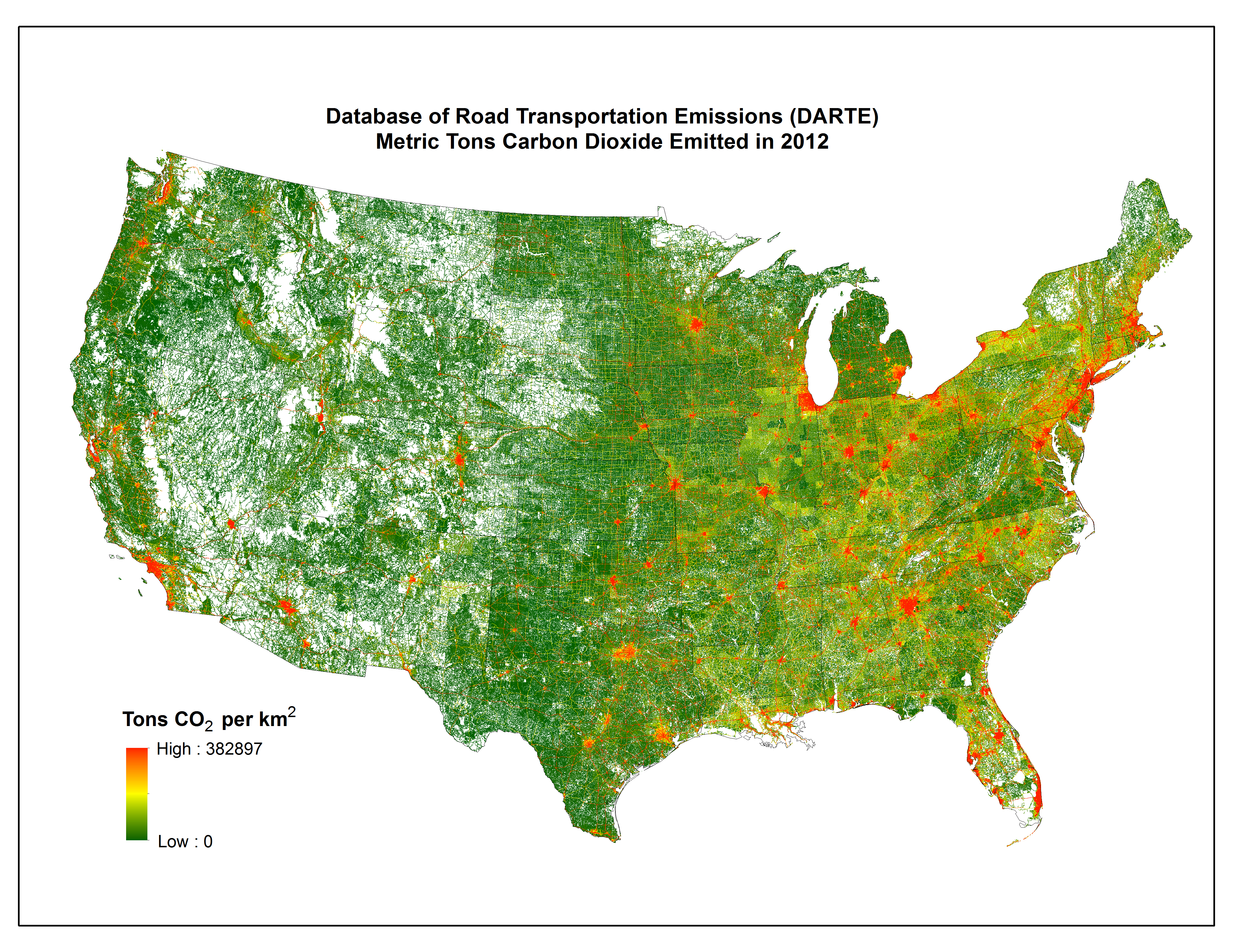 CMS DARTE Annual Onroad CO Emissions On A Km Grid - Map of usa us highways