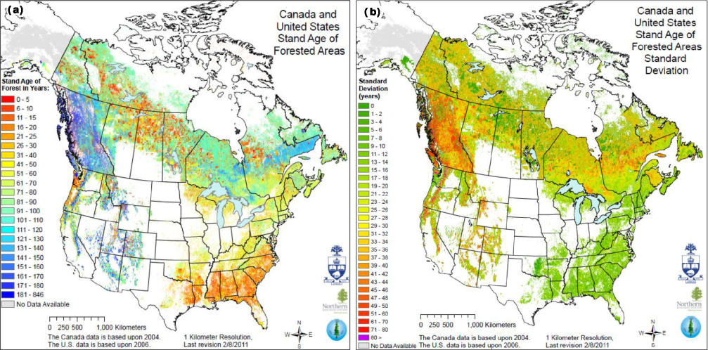 NACP Forest Age Maps at 1-km Resolution for Canada (2004) and the ...