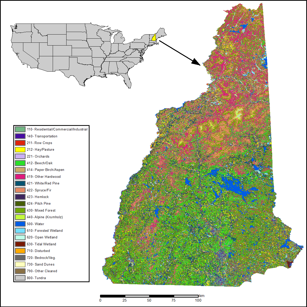 Land Cover And Land Use Classification For The State Of New - State of new hampshire map
