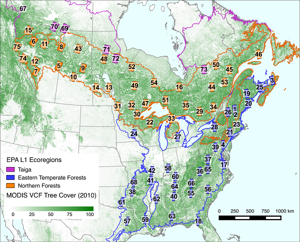Landsat Derived Spring And Autumn Phenology Eastern Us Canadian - Us-forest-cover-map