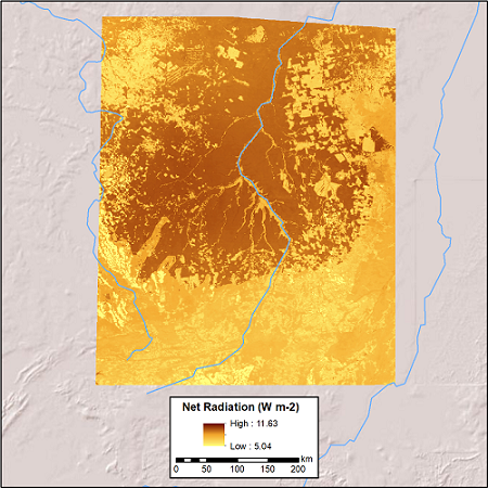 Average daily net radiation in W/m2 for the 8-day timestep, 2000-03-29 to 2000-04-06, in the upper Xingu River Basin, Mato Grosso, Brazil, study area.