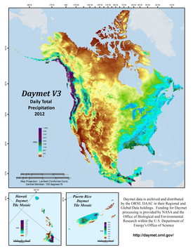 Daymet V3 Daily Total Precipitation, 2012