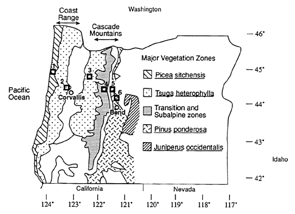 map of major vegetation zones in OTTER study area in Oregon