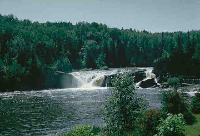 picture of waterfall and forest in Superior National Forest